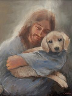Jesus with Yellow Lab by PrintsByShawn on Etsy