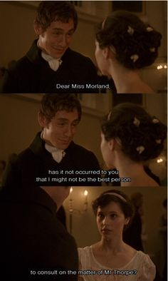 Northanger Abbey--- I love the way Mr. Tilney is honest and sweet to Catherine Jane Austen Movies, Jane Austen Quotes, Period Movies, Period Dramas, Classic Literature, Classic Books, Northanger Abbey Movie, Elizabeth Gaskell, Recent Movies