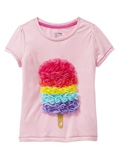 Gap Tulle Popsicle Tee: Available in sizes for girls 1 to Gaps… Toddler Fashion, Kids Fashion, Popsicle Party, Girls Tees, Personalized T Shirts, Kids Wear, Diy Clothes, Baby Dress, Kids Outfits