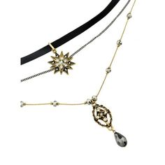 Layered Faux Gem Sun Pendant Choker Golden ($5.20) ❤ liked on Polyvore featuring jewelry, pendants, artificial jewellery, golden jewellery, gem jewelry, gemstone pendants and fake jewelry