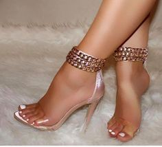 Details about Rose Gold Heels w/Gold Ankle Chains, Clear Strap, Open Toe Sandals, US Blush Satin Rose Gold Clear Strap Ankle Chains Open Toe Heels, US Bare Foot Sandals, Open Toe Sandals, Ankle Strap Sandals, Ankle Straps, Women's Sandals, Rose Gold Heels, Lace Up Heels, Shoes Heels, Green Heels
