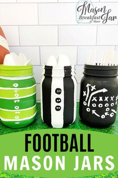 Hosting a football party? Find out how to make this cute Mason jar football centerpiece for your table (or as a gift! Football Centerpieces, Football Party Decorations, Mason Jar Centerpieces, Mason Jar Party, Mason Jar Gifts, Mason Jar Diy, Mason Jar Breakfast, Mason Jar Planter, Mason Jar Storage