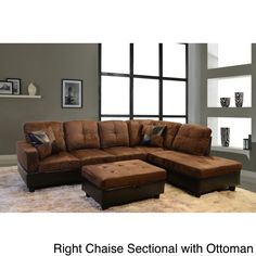 Upgrade your living room with this stylish microsuede and faux leather sectional sofa. The extra storage in the ottoman makes it easy to organize your clutter, remote and magazines, and the two accent pillows allow you to release stress.