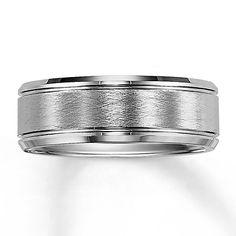 Men's Wedding Band White Tungsten Carbide