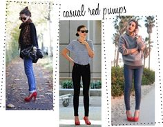casual red pumps