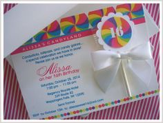This beautiful invitation is perfect for your candy land theme