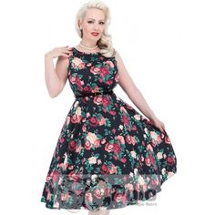 Vestido Pin Up fiesta Hepburn  Swing 50s Estampado Floral Nocturno Lady Vintage London