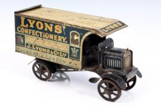 Lyons Confectionary tinplate lithographed toffee tin in the form of a lorry Vintage Tins, Retro Vintage, Food Advertising, Metal Toys, Tin Cans, Toy Trucks, General Store, Antique Toys, Old Toys