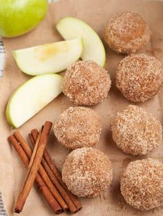 Apple Spice Baked Doughnut Holes - easy to make and baked in mini muffin tins