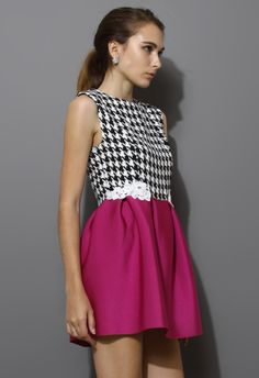 Houndstooth Skater Dress in Hot Pink - Dress - Retro, Indie and Unique Fashion