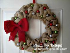 Christmas Burlap Wreath by AnitaRexDesigns on Etsy https://www.etsy.com/ca/listing/208519008/christmas-burlap-wreath