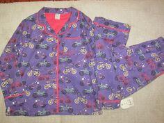 NITE NITE MUNKI MUNKI Sz LG NWT Flannel Pajama Set BIKE LOVE Purple Pink Trim   #MunkiMunki #PajamaSets