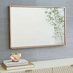 "Metal Framed Wall Mirror #westelm 24""w x 1.75""d x 36""h. / $249 / brushed nickel"