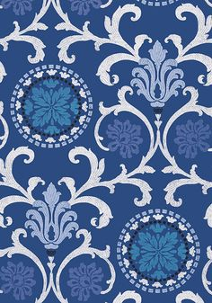 Banyan #wallpaper in #navy from the Caravan collection. #Thibaut