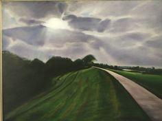 """""""Looking Toward Home"""" original oil on canvas 50x80 cm 2015. Schellerdijk between Schelle en Oldeneel. For sale. Original Art, Country Roads, Paintings, Landscape, Portrait, Headshot Photography, Painting, Draw, Resim"""