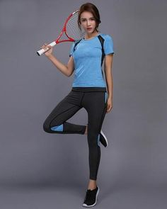 c6c6855a1f8 Night Reflective Quick Dry Two Piece Jogging Set. Tennis ShirtsWorkout  PantsSportswearGym ...