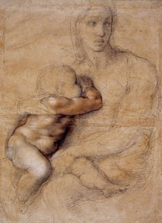 A drawing by Renaissance artist Michelangelo of Madonna and Child Michelangelo, Life Drawing, Figure Drawing, Painting & Drawing, Renaissance Kunst, High Renaissance, Breastfeeding Art, Madonna And Child, Madonna Art