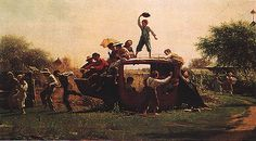 Eastman Johnson -  The Old Stage Coach, 1871, oil on canvas, Milwaukee Art Museum
