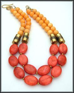 TROPICS - Lush Coral and Tangerine 2 Strand Statement Necklace