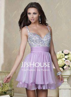 Homecoming Dresses - $133.99 - Elegant A-Line/Princess V-neck Short/Mini Chiffon Charmeuse Homecoming Dresses With Ruffle Beading (022004341) jjshouse.com