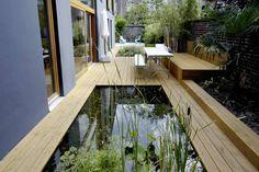 clever & interesting design for a long/narrow garden
