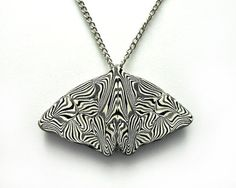 Black and White Butterfly Necklace Insect by CicadaArtJewelry