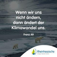 Es muss sich definitiv Etwas ändern! 🌍#ErneuerbareEnergie #Klimawandel #Zitate #FranzAlt #Umweltschutz Environmentalism, Quotes