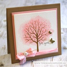 handmade greeting card ... sheltering Tree ... watercolor paper ... looks like a pink cloud behind it ...
