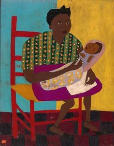 Young Mother, ca. 1944-1945, William H. Johnson, oil on plywood 29 x 23 1/8 in. (73.7 x 58.7 cm.), Smithsonian American Art Museum, Gift of the Harmon Foundation, 1967.59.1075