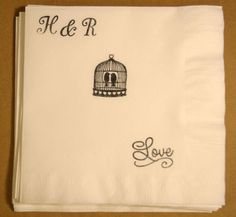 Wedding Napkins Personalized Rustic Love Birds by Hobby4Crafts