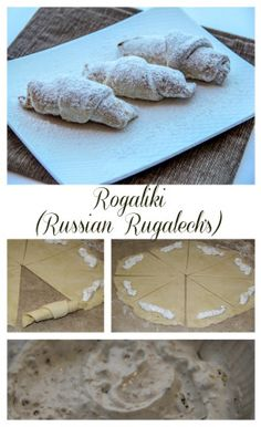 Russian Rogaliki filled with a meringue crunchy walnut filling