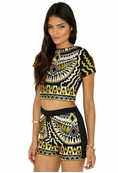 Aztec Print Matching Crop Top and Shorts. Summer Fashion. Summer Outfit. Tribal Fashion
