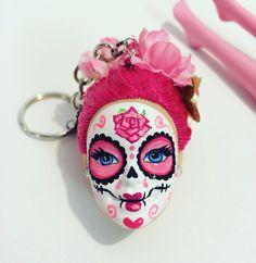 Custom pink sugar skull keychain from StaroseCreations on Etsy.com