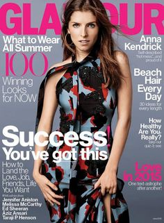 Anna Kendrick on the June 2015 cover of Glamour, in a Gucci dress. Me&Ro earrings.