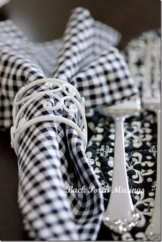 Pretty black and white table setting.  |  Back Porch Musings