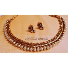 delicate pearl polki necklace set