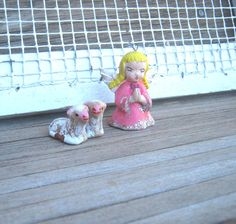 Handpainted Ceramic Vintage Pink Angel with by MintysMercantile