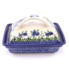 A butterdish with blueberries! How cute combination :) See more Polish pottery at our new site http://slavicapottery.com