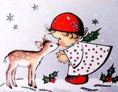 Adorable Card... Little Girl Kissing a Deer
