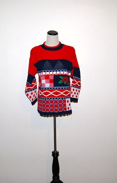 Vintage Sweater Red Rose by CheekyVintageCloset on Etsy, $17.50