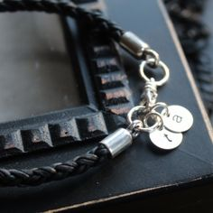 Personalized Silver and Leather Unisex Initial Bracelet-Laine Bracelet | 2 Sisters Handcrafted