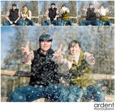Snowy engagement session in Saratoga Wyoming