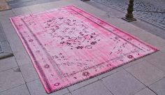 HOT PINK Overdyed Carpet 5'9'' x 9'4'' 1940s by IstanbulArtCraft