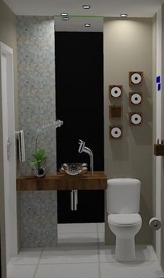 Love this modern toilet. Novel way to store spare toilet rolls. Steam Showers Bathroom, Bathroom Toilets, Modern Toilet, Downstairs Loo, Toilet Design, Bathroom Organization, Powder Room, Home And Living, Decoration
