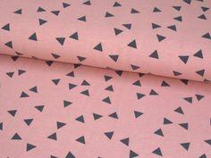 Kinderstoffe - Jersey Stoff Triangle Dreieck lachs altrosa/grau - ein Designerstück von Fiebmatz bei DaWanda