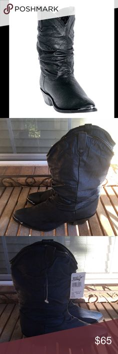 "Navy Blue Dingo Leather Slouch Western Boots NWT! Navy Blue Dingo Leather Slouch Western Boots. Gorgeous! In great shape! These are soft and comfy. Deep navy/indigo blue color with pewter silver metal tip at toes. Shaft is 10"" high and has a circumference of 14"". 1.5"" stacked wood heels. #boho, #soho, #cowboy, #gypsy, #hippie, #cowgirl, #glam dingo Shoes Ankle Boots & Booties"