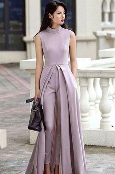 The perfect formal set . Satin faired pleated kurta with pants Look Fashion, Hijab Fashion, Fashion Dresses, Evening Dresses, Prom Dresses, Wedding Dresses, Wedding Jumpsuit, Formal Jumpsuit, White Jumpsuit