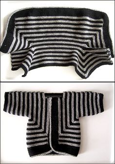 Pattern: Baby Surprise Jacket from Knitting Workshop by Elizabeth Zimmermann Yarn: Paton's Classic Wool in grey mix and Elsbeth Lavold Classic AL in black Needles: US 6 circular for the fetus! I used an i-cord cast-off that took way too long, but Knitting For Kids, Knitting Yarn, Baby Knitting, Knit Or Crochet, Crochet For Kids, Crochet Baby, Knitted Baby, Baby Patterns, Knitting Patterns