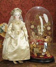 The Memory of All That - Marquis Antique Doll Auction: 70 French Bisque Poupee by Gaultier with Rare Bisque Hands, Ivory Satin Wedding Gown