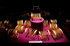 Dacian gold bracelets exposed in the National Museum of Romanian History, Bucharest